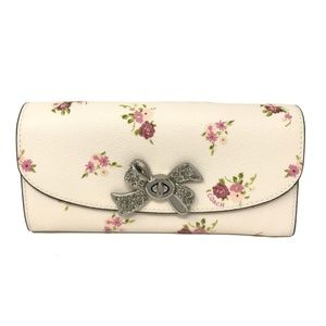 Coach Slim Envelope Wallet With Daisy Floral Chalk